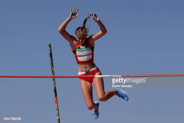 Krystsina Antsavenka of Belarus competes in Women's Pole Vault Stage 2 during day 8 of Buenos Aires 2018 Youth Olympic Games at Youth Olympic Park...