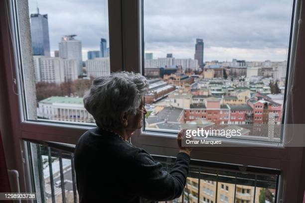 Krystyna Budnicka, an 88-year-old Holocaust survivor and member of the Children of the Holocaust Association poses for a portrait by her home window...