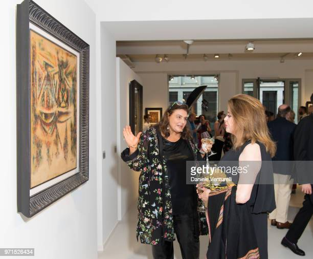 Krystyna Gmurzynska and Catherine Deneuve attends Wilfredo Lam 'Nouveau Nouveau Monde' Exhibition Opening Hosted by the Lam Family at Galerie...