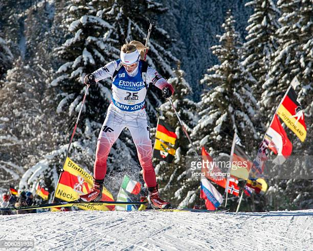 Krystyna Guzik of Poland in action during the Biathlon Women's 75 km Sprint at the IBU Biathlon World Cup Antholtz on January 21 2016 in Antholtz...