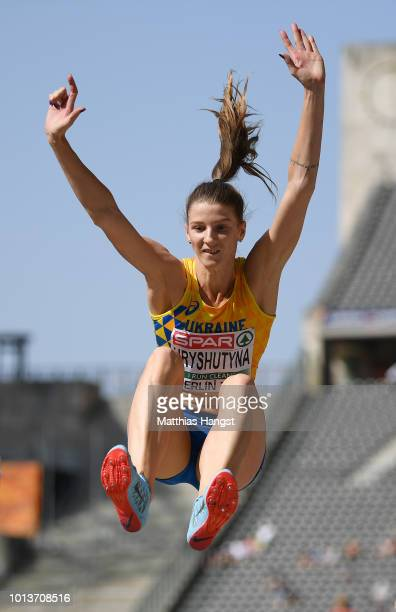 Krystyna Hryshutyna of Ukraine competes in the Women's Long Jump qualification during day three of the 24th European Athletics Championships at...