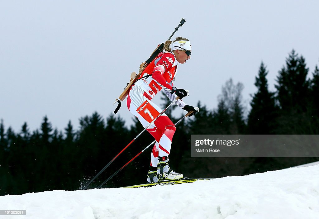 Krystyna Palka of Poland competes in the women's 10km pursuit event during the IBU Biathlon World Championships at Vysocina Arena on February 10, 2013 in Nove Mesto na Morave, Czech Republic.