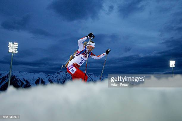 Krystyna Palka of Poland competes in the Women's 7.5 km Sprint during day two of the Sochi 2014 Winter Olympics at Laura Cross-country Ski & Biathlon...
