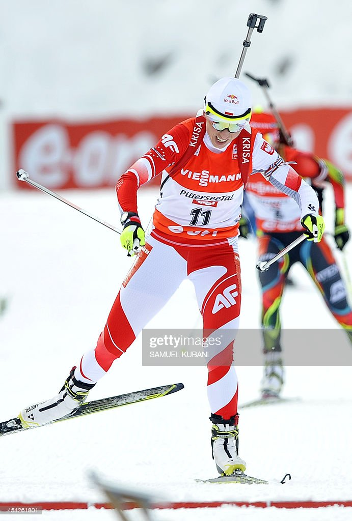 Krystyna Palka of Poland crosses the finish line of the women's10km pursuit competition of the IBU Biathlon World Cup in Hochfilzen, Austria, on December 8, 2013. Norway's Synnoeve won ahead of Ukraine's Julia Dzyhma and Poland's Krystyna Palka.