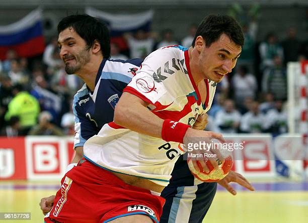Krysztof Lijewski of Poland in action during the Men's Handball European Championship Group C match between Poland and Slovenia at the Olympia Hall...