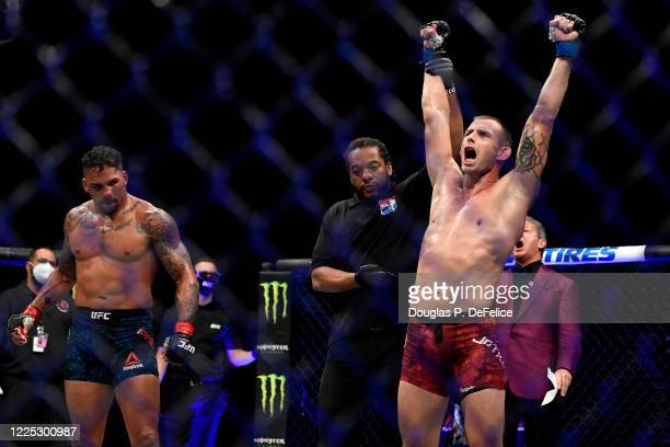 Krzysztof Jotko of Poland celebrates after defeating Eryk Anders of the United States in their Middleweight bout during UFC Fight Night at VyStar...