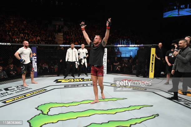 Krzysztof Jotko of Poland celebrates his victory over Alen Amedovski of Macedonia in their middleweight bout during the UFC Fight Night event at...