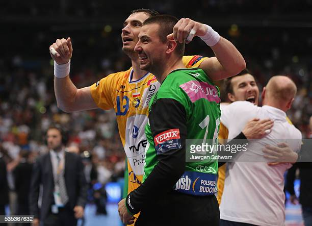 Krzysztof Lijewski of Kielce and goalkeeper Marin Sego celebrate after winning the EHF Champions League Final against MKB Veszprem on May 29 2016 in...