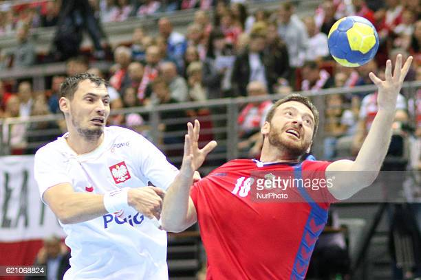 Krzysztof Lijewski Rastko Stojkovic in action during the 2018 Men's European Championship Qualification match between Poland v Serbia at ERGO Arena...