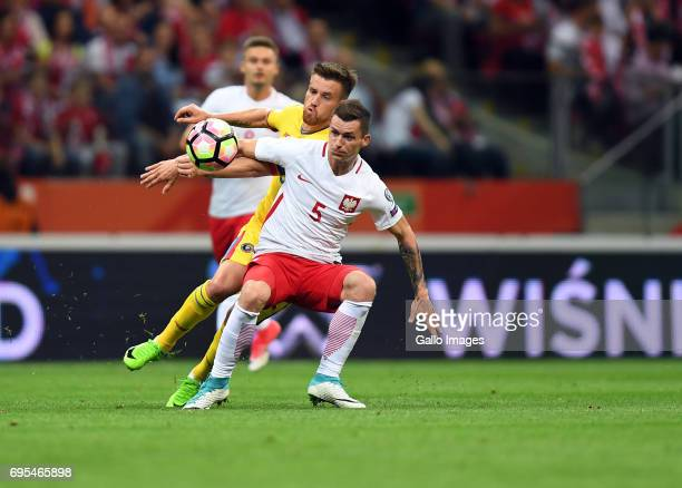 Krzysztof Maczynski of Poland in action during the 2018 FIFA World Cup Russia eliminations match between Poland and Romania on June 10 2017 at the...
