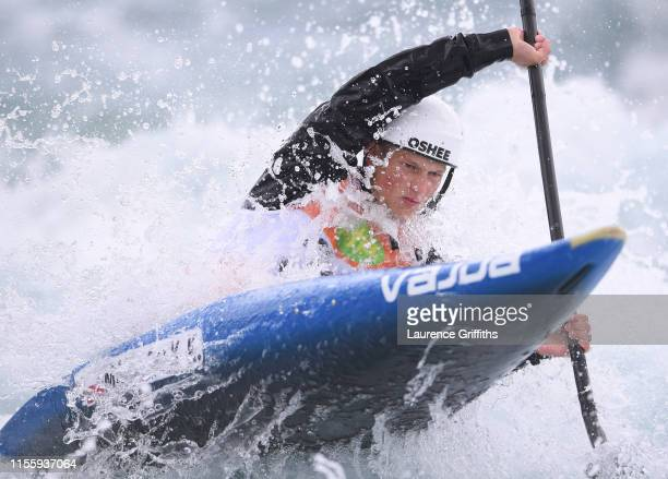 Krzysztof Majerczt of of Poland competes in the Mens K1 Heats during Day One of the 2019 ICF Canoe Slalom World Cup at Lee Valley White Water Centre...