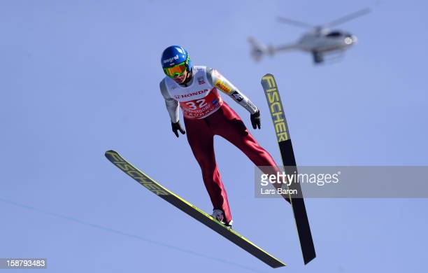 Krzysztof Mietus of Poland competes during the training round for the FIS Ski Jumping World Cup event of the 61th Four Hills ski jumping tournament...