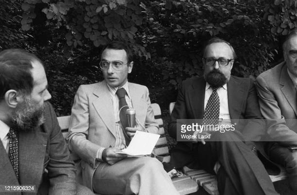 Krzysztof Penderecki at the Birthplace of Frederic Chopin Museum in Zelazowa Wola pictured Krzysztof Penderecki and French journalist Yves Mourousi