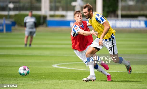 Krzysztof Piatek and Lucas Tousart of Hertha BSC during a training session on July 28, 2020 in Berlin, Germany.