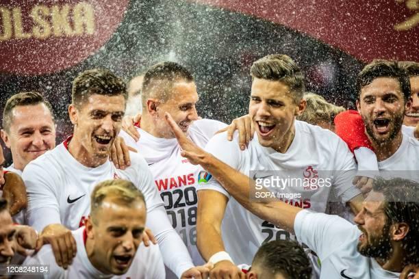 Krzysztof Piatek Artur Jedrzejczyk Jan Bednarek Bartosz Bereszynski and Grzegorz Krychowiak of Poland are celebrate after the UEFA EURO 2020...