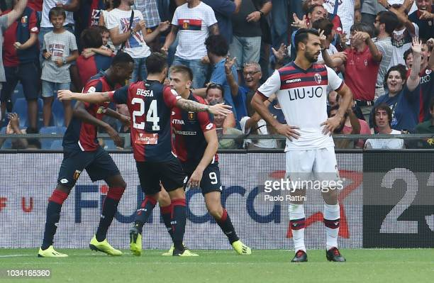 Krzysztof Piatek celebrate after his first goal during the serie A match between Genoa CFC and Bologna FC at Stadio Luigi Ferraris on September 16...