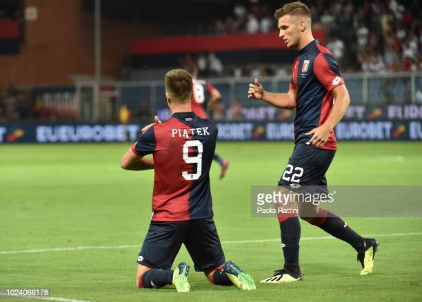 Krzysztof Piatek celebrate after score 10 during the serie A match between Genoa CFC and Empoli at Stadio Luigi Ferraris on August 26 2018 in Genoa...