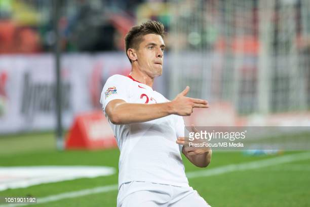 Krzysztof Piatek celebrates after scoring a goal during the UEFA Nations League A group three match between Poland and Portugal at Silesian Stadium...