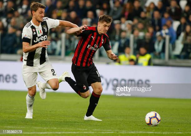 Krzysztof Piatek during Serie A match between Juventus v Milan in Turin on April 6 2019