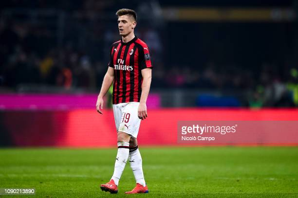 Krzysztof Piatek new signing of AC Milan is pictured during the Serie A football match between AC Milan and SSC Napoli The match ended in a 00 tie