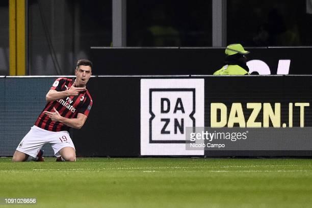 Krzysztof Piatek of AC Milan celebrates after scoring a goal during the Coppa Italia quarterfinal football match between AC Milan and SSC Napoli AC...