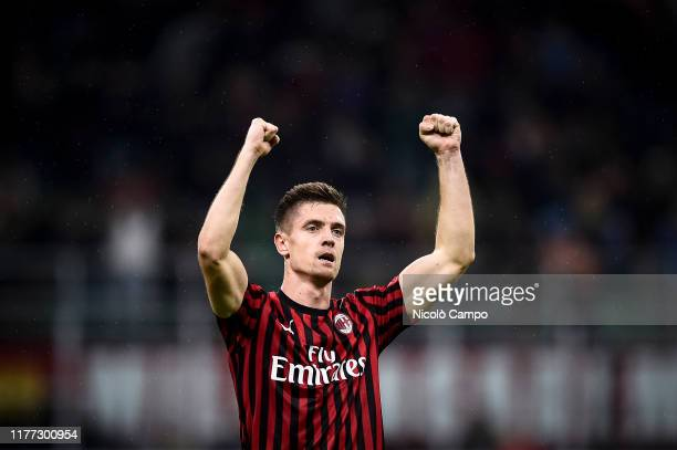Krzysztof Piatek of AC Milan celebrates after scoring a goal during the Serie A football match between AC Milan and US Lecce The match ended in a 22...