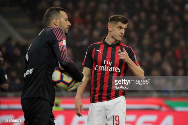 Krzysztof Piatek of AC Milan during the serie A match between AC Milan and FC Internazionale Milano at Stadio Giuseppe Meazza on March 17 2019 in...