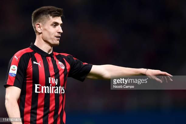 Krzysztof Piatek of AC Milan gestures during the Serie A football match between AC Milan and Bologna FC AC Milan won 21 over Bologna FC