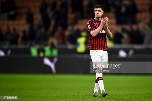 Krzysztof Piatek of AC Milan greets the fans at the end of the Serie A football match between AC Milan and SS Lazio SS Lazio won 21 over AC Milan