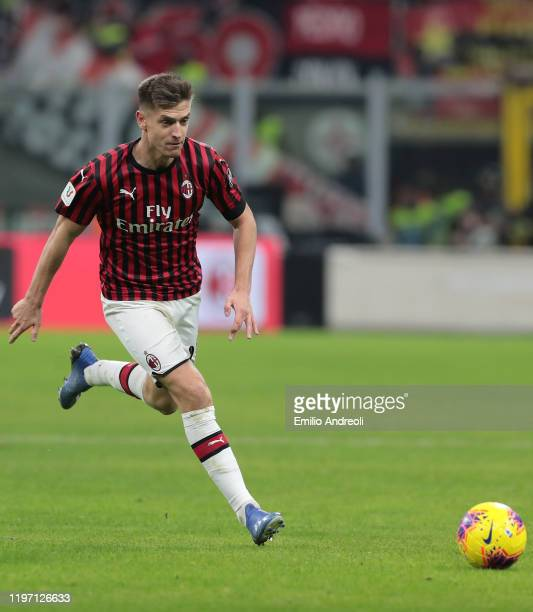 Krzysztof Piatek of AC Milan in action during the Coppa Italia Quarter Final match between AC Milan and Torino at San Siro on January 28 2020 in...