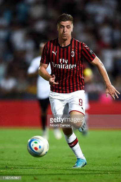 Krzysztof Piatek of AC Milan in action during the preseason friendly football match between Cesena FC and AC Milan The match ended in a 00 tie