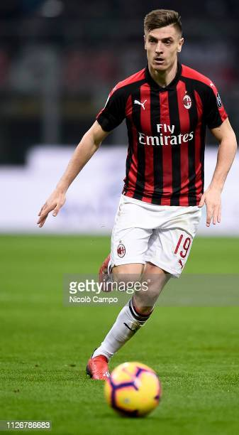 Krzysztof Piatek of AC Milan in action during the Serie A football match between AC Milan and Empoli FC AC Milan won 30 over Empoli FC