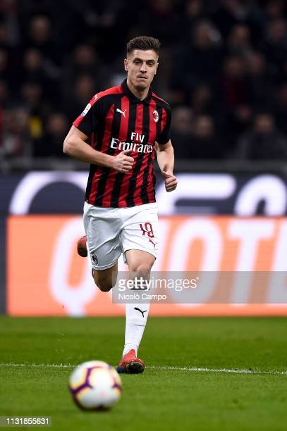 Krzysztof Piatek of AC Milan in action during the Serie A football match between AC Milan and FC Internazionale FC Internazionale won 32 over AC Milan