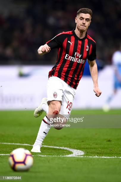Krzysztof Piatek of AC Milan in action during the Serie A football match between AC Milan and SS Lazio AC Milan won 10 over SS Lazio