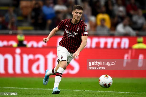 Krzysztof Piatek of AC Milan in action during the Serie A football match between AC Milan and FC Internazionale FC Internazionale won 20 over AC Milan