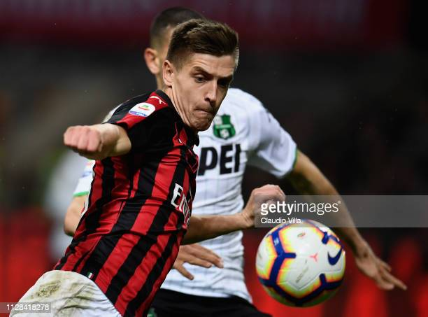 Krzysztof Piatek of AC Milan in action during the Serie A match between AC Milan and US Sassuolo at Stadio Giuseppe Meazza on March 3 2019 in Milan...