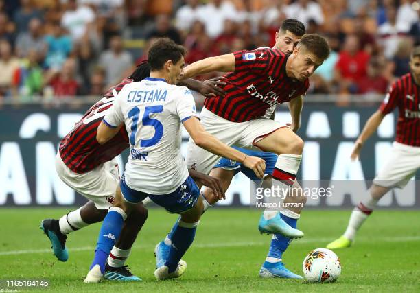 Krzysztof Piatek of AC Milan in action during the Serie A match between AC Milan and Brescia Calcio at Stadio Giuseppe Meazza on September 1 2019 in...