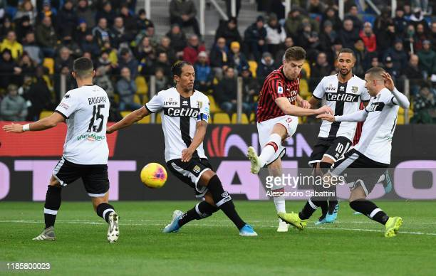 Krzysztof Piatek of AC Milan in action during the Serie A match between Parma Calcio and AC Milan at Stadio Ennio Tardini on December 1 2019 in Parma...
