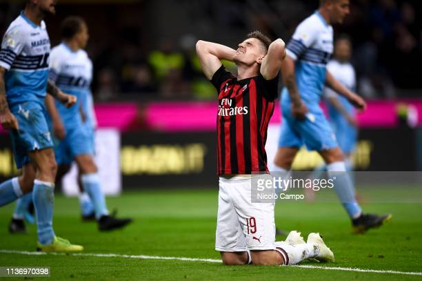 Krzysztof Piatek of AC Milan is disappointed after missing a chance during the Serie A football match between AC Milan and SS Lazio AC Milan won 10...