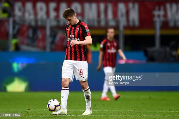 Krzysztof Piatek of AC Milan looks dejected during the Coppa Italia football match between AC Milan and SS Lazio SS Lazio won 10 over AC Milan