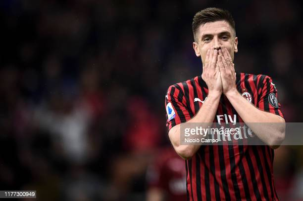 Krzysztof Piatek of AC Milan looks dejected during the Serie A football match between AC Milan and US Lecce The match ended in a 22 tie