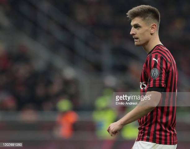 Krzysztof Piatek of AC Milan looks on during the Coppa Italia Quarter Final match between AC Milan and Torino at San Siro on January 28 2020 in Milan...