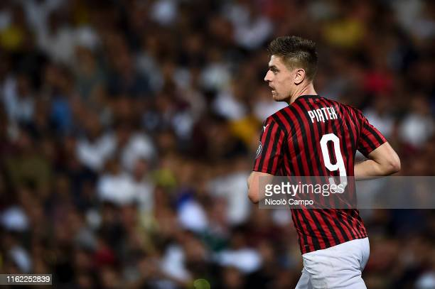 Krzysztof Piatek of AC Milan looks on during the preseason friendly football match between Cesena FC and AC Milan The match ended in a 00 tie