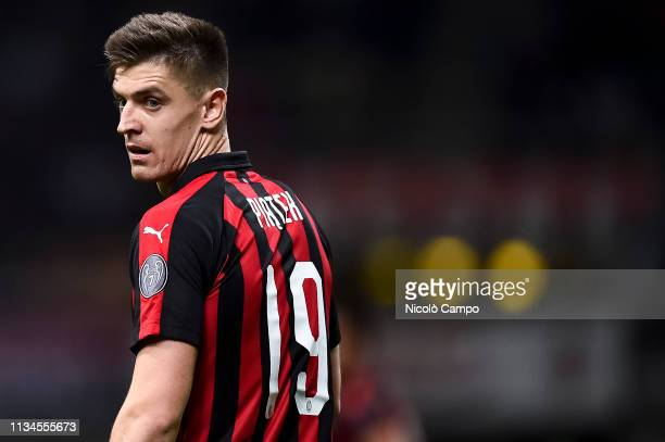 Krzysztof Piatek of AC Milan looks on during the Serie A football match between AC Milan and Udinese Calcio The match ended in a 11 tie
