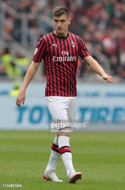 Krzysztof Piatek of AC Milan looks on during the Serie A match between AC Milan and Frosinone Calcio at Stadio Giuseppe Meazza on May 19 2019 in...
