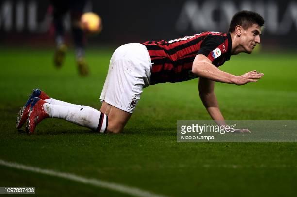Krzysztof Piatek of AC Milan reacts during the Serie A football match between AC Milan and Cagliari Calcio AC Milan won 30 over Cagliari Calcio