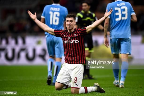 Krzysztof Piatek of AC Milan reacts during the Serie A football match between AC Milan and SS Lazio SS Lazio won 21 over AC Milan