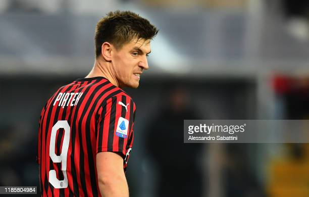 Krzysztof Piatek of AC Milan reacts during the Serie A match between Parma Calcio and AC Milan at Stadio Ennio Tardini on December 1 2019 in Parma...