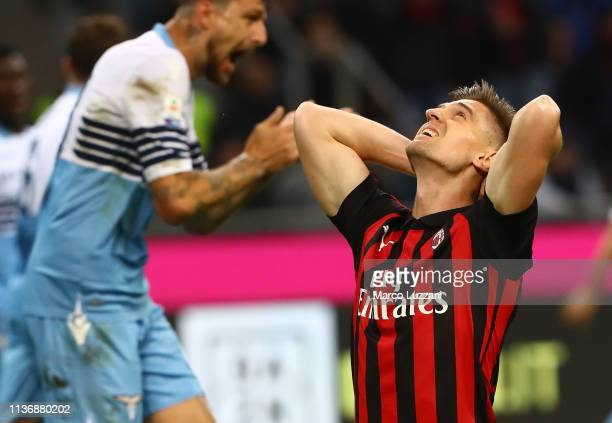 Krzysztof Piatek of AC Milan reacts to a missed chance during the Serie A match between AC Milan and SS Lazio at Stadio Giuseppe Meazza on April 13...