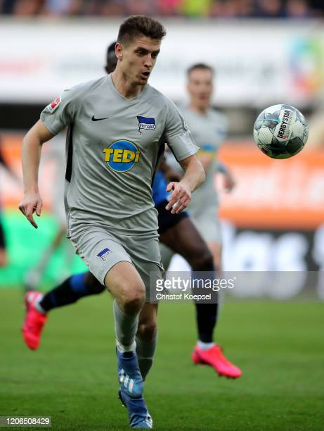 Krzysztof Piatek of Berlin runs with the ball during the Bundesliga match between SC Paderborn 07 and Hertha BSC at Benteler Arena on February 15...